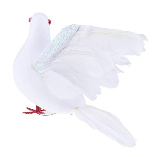 FLAMEER Realistische Taube Künstlicher Gefiederter Vogel Federn Deko Tiere Figur - Fliegend