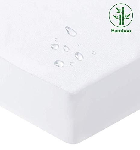 Bedecor Bamboo Mattress Protector Breathable Topper Cover Non Noisy Deep Pocket 30cm - Double (135x190cm)