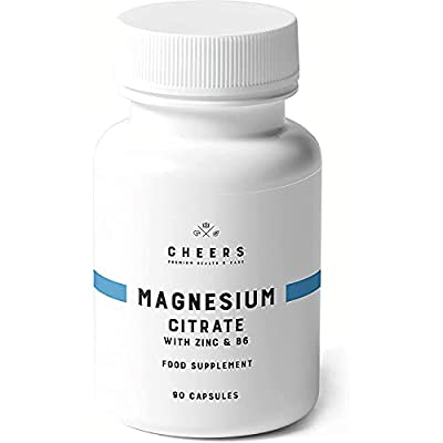 Cheers Magnesium Citrate Capsules, 90 Vegan Caplets, Gluten-Free Magnesium Citrate with Zinc & Vitamin B6, High Dose 320mg, Easily Absorbable Magnesium Supplement