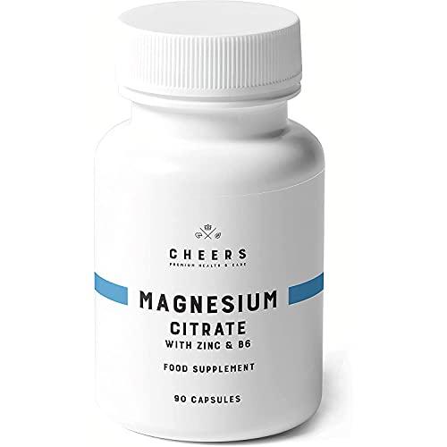 Cheers Magnesiumcitrat, 90 Kapseln, Vegan, Ohne Zusatzstoffe, Magnesium Citrate mit Zink & Vitamin B6, Hochdosiert 320mg, Die Höchste Absorption in Magnesiumpräparaten