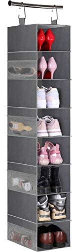 MISSLO 8-Shelf Hanging Shoe Storage Organiser Wardrobe Shoe Rack with Large Shelf and Side Mesh Pockets for Handbags Clothes Hat, Grey