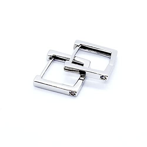 Pendientes geométricos huecos de plata de ley 925 cuadrados CZ pequeños aros gruesos para mujer