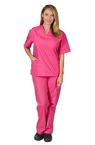Women's Scrub Set - Medical Scrub Top and Pant, Hot Pink, XX-Small