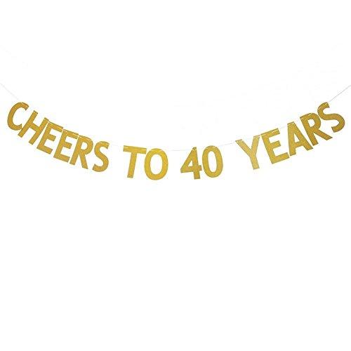 Veewon Salutations à 40 ans Banner Gold Glitter Letters Garages de Bunting 40ème Anniversaire Anniversaire Party Photo Prop Decor