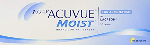Acuvue 1-Day Moist for Astigmatism Tageslinsen weich, 30 Stück / BC 8.5 mm / DIA 14.5 / CYL -0.75 / Achse 180 / -1.75 Dioptrien