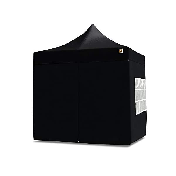 Gorilla Gazebo 2.5x2.5mtr Pop Up Commercial Grade Gazebo with Four Side Panels and Wheeled Carrybag (Black)