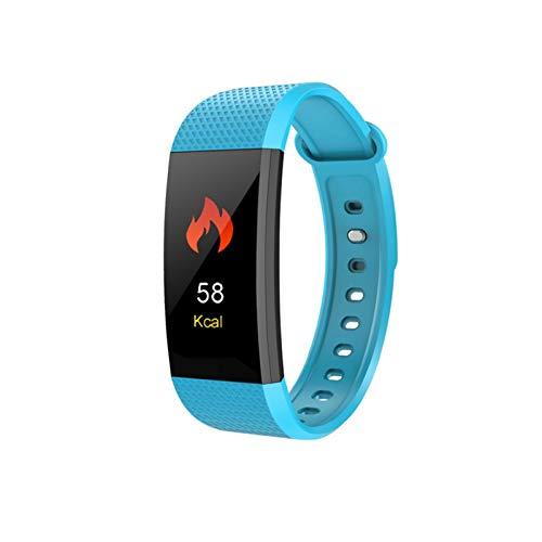 LYB Pulsera inteligente con monitor de ritmo cardíaco, presión arterial, fitness, banda inteligente, impermeable, reloj deportivo para iOS Android (color: azul)