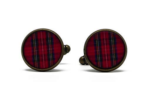 2 gemelli da polso costume in resina rosso in tessuto tartan Outlander ottone 14mm regali personalizzati regali di Natale cerimonia di nozze ospiti festa del papà coppie