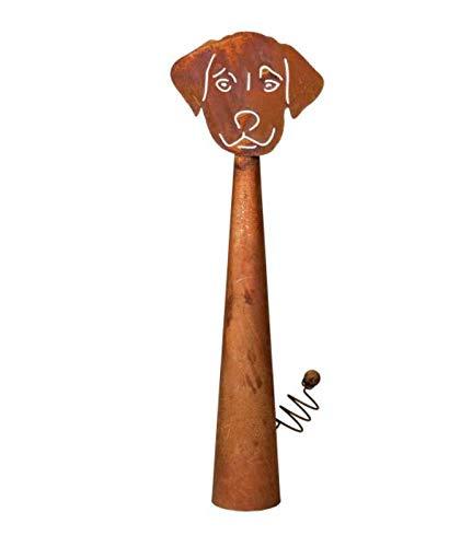 B.A.D.E.K.O Edelrost Zaunfigur Hund Buffy 38cm Gartenzaun Tierfigur Zaunhocker
