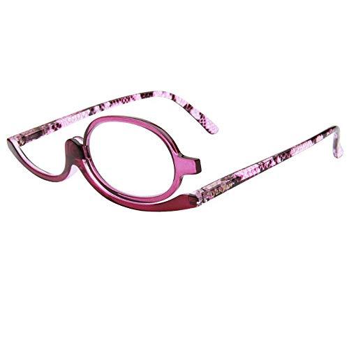 Milya Make-Up Schminkbrille Rotatable Flip Up Brille Drehbare Lesebrille Presbyopie Brille Sehhilfe Lesehilfe Lila Stärke +3,5