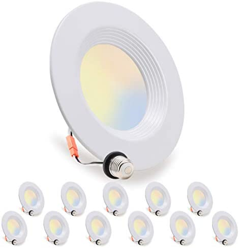 12 Pack LED Recessed Lighting 5 6 inch Downlight 10 5W 85W Dimmable Damp Rated 5 Color Changing product image