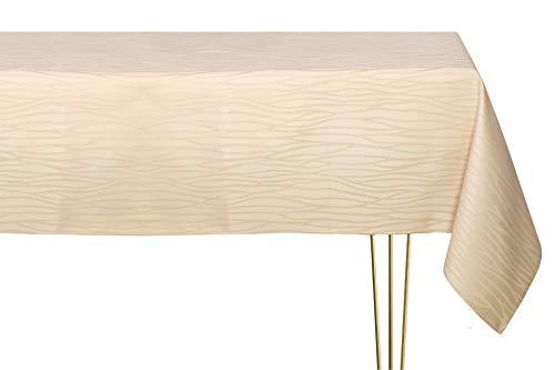 Mantel antimanchas de varios tamaños, formas y colores. Mantel rectangular champán beige a rayas hecho a mano 100% poliéster. Mantel de jardín 140 x 180 cm
