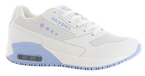 Oxypas Neu Sport, Berufsschuh Ela, Antistatischer (ESD) Leder Sneaker für Damen (39, Weiß-Hellblau)
