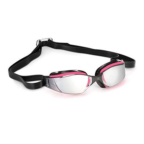 Phelps - MP XCEED, Occhialini da Nuoto Unisex-Adulto, Lenti a Specchio Rosa e Nero/Argento, Taglia Unica