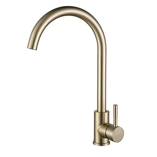 KINSE Grifo de cocina de acero inoxidable, giratorio 360°, alta presión, Oro