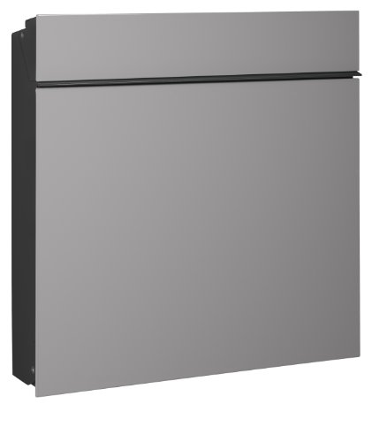 Serafini Briefkasten Flat Wide Stahl schwarz/Front graualuminium 42,1 x 42,2 x 9,5 cm