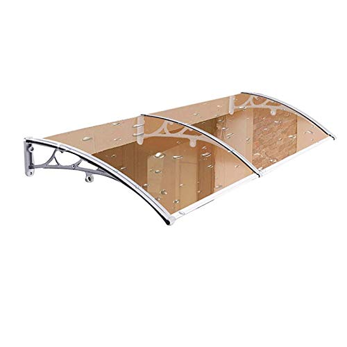 WXQ Patio Porch Awning Shelter Roof Canopies, 3mm Rigid Mute Polycarbonate Panel, Arched Sun Rain Shelter Against All Weather Elements (Color : Brown+gray, Size : 100x150cm)