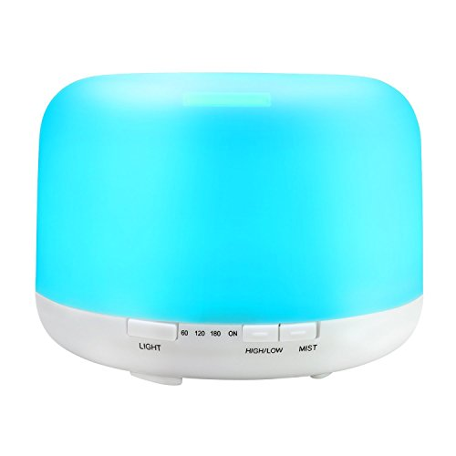 Sensky Aroma Diffuser 500ml Essential Oil Diffuser Ultrasonic Cool Mist Humidifier 7 Color Changing Light Silent Operation for Home, Office, Bedroom, Yoga, Kid's Room (Up to 12 Hours Use)