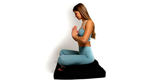 Awaken Meditation - Crescent Zafu Cushion and Zabuton Mat Set   Yoga Bolster - Washable 100% Natural Cotton Filled with Buckwheat (Black Panther)