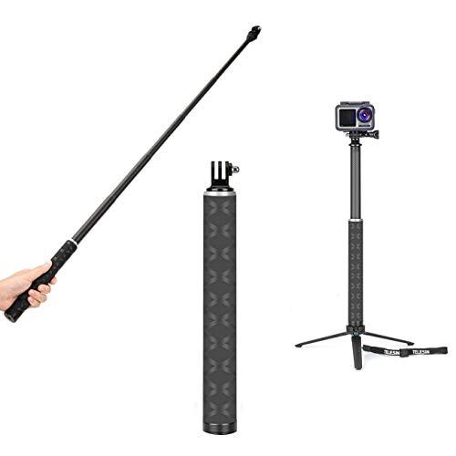 TELEISN Bastone Selfie Stick in Fibra di Carbonio per Gopro,Leggero,2,95ft/0,9m Estensione con Monopiede Pole Impermeabile per Gopro Hero, DJI Osmo Action Insta360 e Altre Action Camera (2,95ft/0,9m)