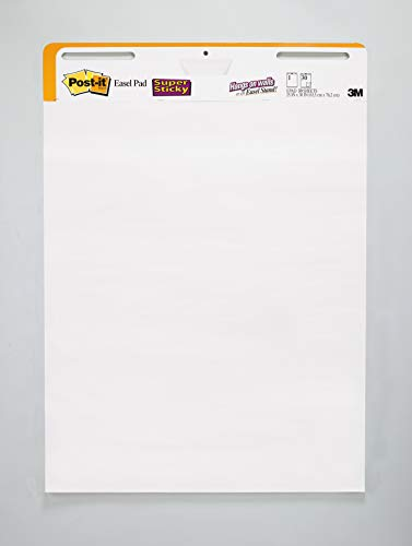 Post-it Super Sticky Easel Pad, 25 x 30 Inches, 30 Sheets/Pad, 1 Pad (559 STB), Large White Premium Self Stick Flip Chart Paper, Rolls for Portability, Hangs with Command Strips