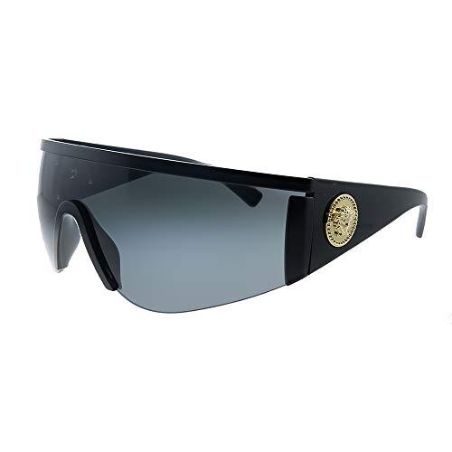 Versace VE 2197 126187 - Gafas de sol con escudo de metal negro mate, lente gris