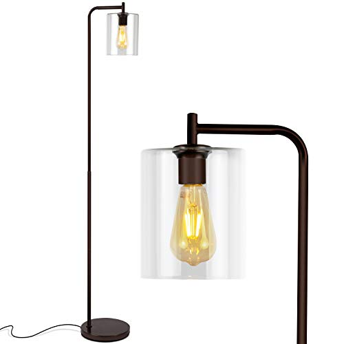 "Mejor O'Bright Industrial Floor Lamp for Living Room, 100% Metal Lamp, 70"", UL Certified Ceramic E26 Socket, Minimalist Design for Decorative Lighting, Stand Lamp for Bedroom/Office/Dorm, ETL Listed (Black) crítica 2020"