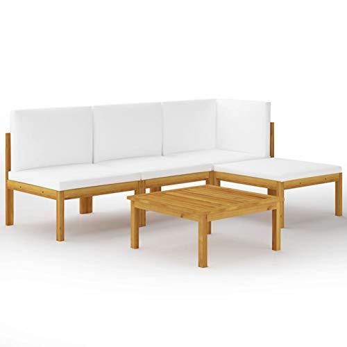 Ksodgun Muebles de jardín 5 pzas Cojines Crema Madera Conjunto de terraza Conjunto Jardin Maciza de Acacia