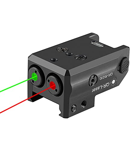 QR-Laser Dual Green Red Laser Sights Duo-Laser Combo for Any Subcompact Pistols with Picatinny Rail Mount Rechargeable with USB Charger RG10
