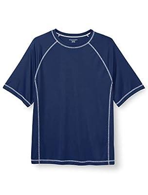 Amazon Essentials Men's Big & Tall Short-Sleeve Quick-Dry UPF 50 Swim Tee Swimwear, -Navy, 2XL
