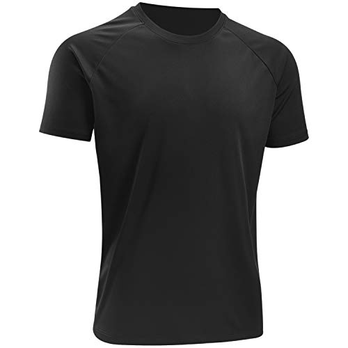 BALENNZ Workout Shirts for Men, Moisture Wicking Quick Dry Active Athletic Men's Gym Performance T Shirts Black