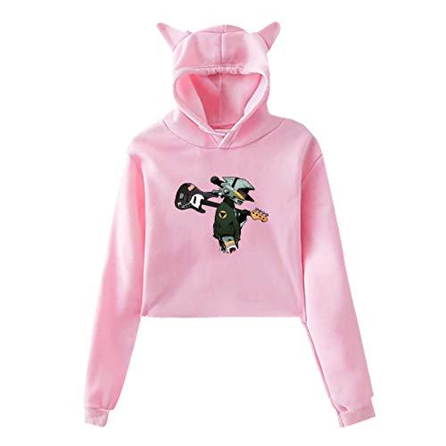 FLCL Naota Guitar Women's Hoodies Cat Ear Pullover Hooded Sweatshirt Crop Top