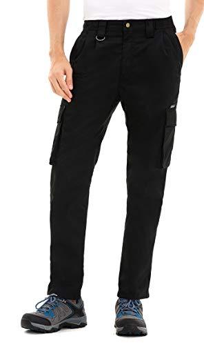 Clothin Men's Elastic Waist Cargo Pants Outdoor Tactical Pants with Pockets (Black,L,32L)