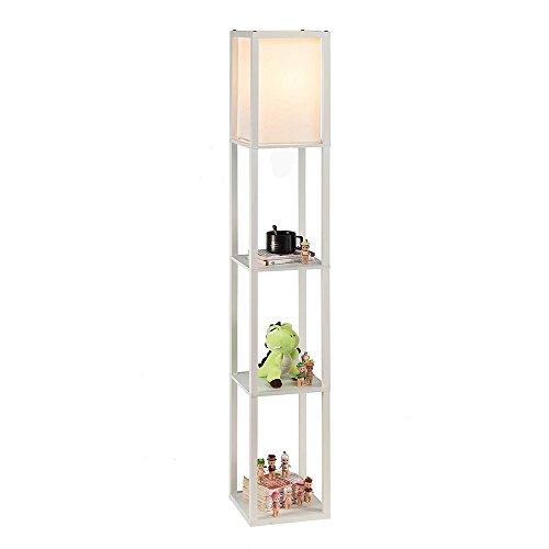 QIANGUANG® Iluminacion interior Lampara de pie de madera de 1,6 m con estantes para dormitorio y sala de estar (sin bombilla) (White)