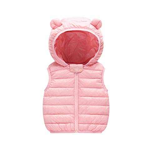 Odziezet Gilet Piumini con Cappuccio Cappotto Imbottito Senza Manica da Bambini Zip Up Giubbotto Impermeabile Invernale 0-36 Mesi