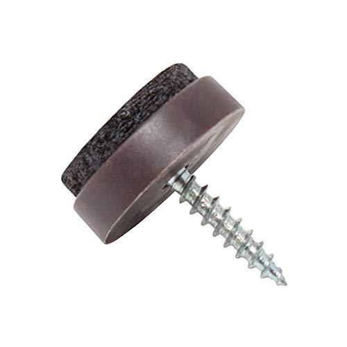Adsamm 32 x Filzgleiter mit Schraube   Ø 20 mm   Braun   rund   Möbelgleiter zum Schrauben in Premium-Qualität