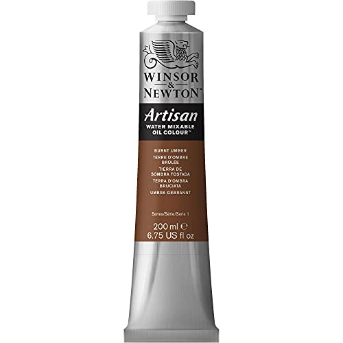 Winsor & Newton Artisan Water Mixable Oil Colour Paint, 200ml Tube, Burnt Umber