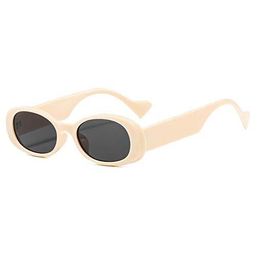 ZZOW Gafas De Sol De Mujer Ovaladas Pequeñas Vintage A La Moda con Tendencia Azul Rojo Beige Gafas De Sol para Hombre con Lentes Grises Uv400