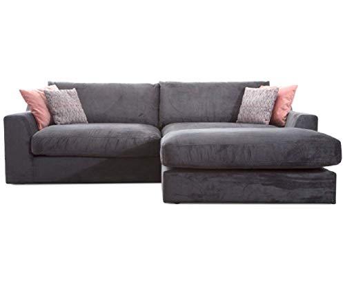 Cavadore Ecksofa Fiona mit Recamiere rechts/Große Eckcouch inkl. Rückenkissen im modernen Design / 277x90x199 / Webstoff Grau