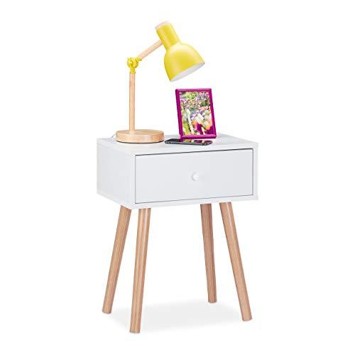 Relaxdays Nachttisch skandinavisch, Retro, Nachtschrank mit Schublade, HBT: 55x42x30cm, Beistelltisch Schlafzimmer, weiß, 1 Stück