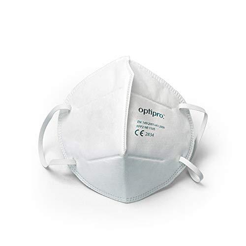 Masque facial OptiPro Particulate Respirator (KN95 / FFP2) - Système multicouche à haute capacité de filtration - Filtre plus de 95% des particules en suspension dans l'air (paquet de 10)