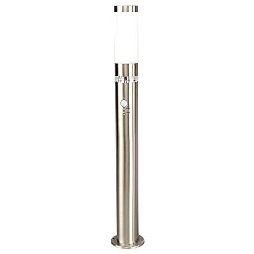 Lindby Außenleuchte 'Binka' mit Bewegungsmelder (spritzwassergeschützt) (Modern) in Alu aus Edelstahl (1 flammig, E27, A++) - Wegeleuchte, Pollerleuchte, Wegelampe, Sockelleuchte