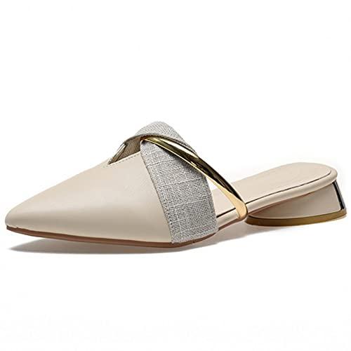 JUSTMAE Elegantes Zapatillas de tacón bajo para Mujer, Verano, Sexis, Puntiagudas, Zapatillas para Mujer, Zapatos de Oficina para el Ocio, Zapatos de tacón Beige para Mujer