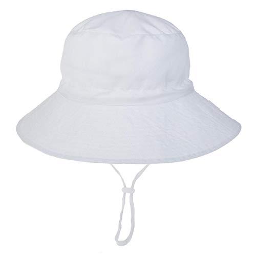 Hawiton Baby Sonnenhut UV Schutz Kleinkind Fisherhut Sommermütze mit Kinnriemen Baumwolle Nackenschutz Hut (Weiß, L)