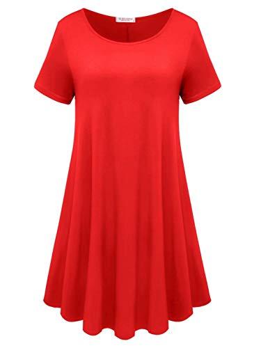 BELAROI Womens Comfy Swing Tunic Short Sleeve Solid T-Shirt Dress (S, Poinsettia)