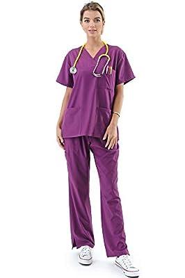 Women's Medical Uniform Scrubs Set – 4 Way Stretch 8 Pocket V-Neck Top with Drawstring Pants Nursing Dental, Purple X-Small