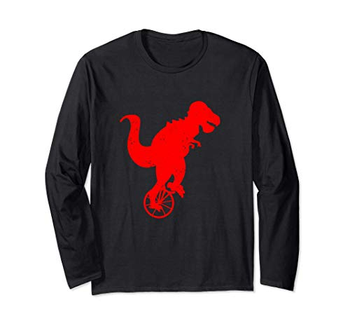 Dinosaur On Unicycle Cute Cycling Dino Funny Unicyclist Gift Long Sleeve T-Shirt