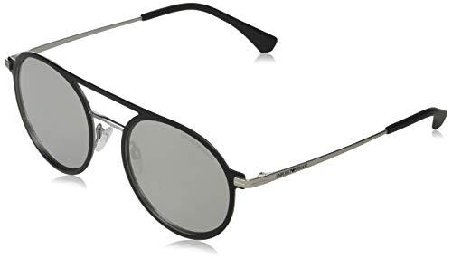 Emporio Armani 0EA2080 Gafas de sol, Matte Black/Matte Silver, 53 para Hombre