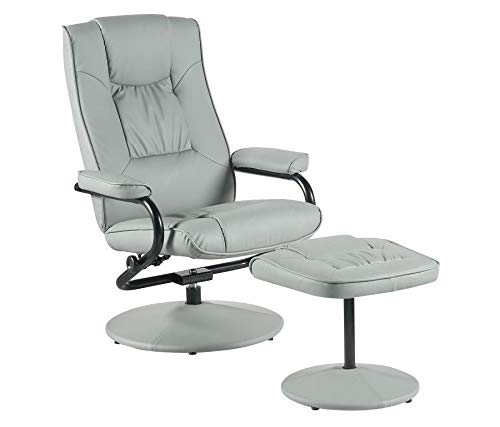 Executive Recliner Arm Chair Swivel Armchair Lounger Seat w/Footrest Foot Stool by Millies Design (grey)