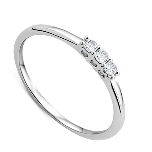 Orovi Women Trilogy Engagement Ring 9 ct/375 White Gold With Brilliant Cut Diamonds 0.09 ct